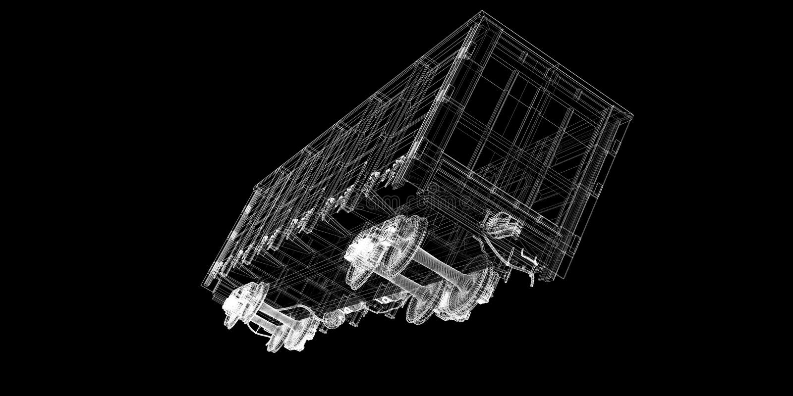 Boxcar. Railway carriagebody structure, wire model stock photos