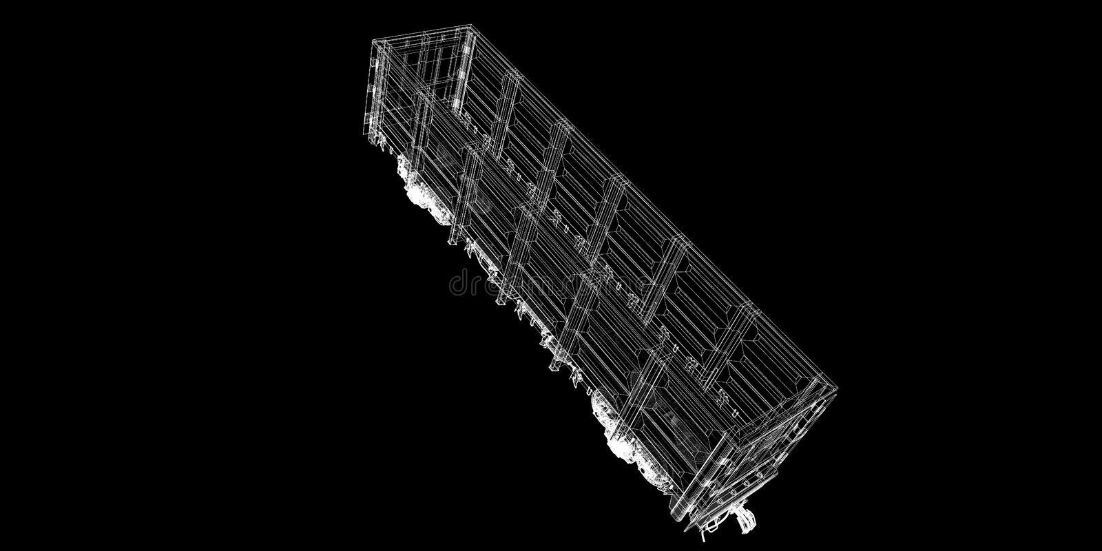 Boxcar. Railway carriagebody structure, wire model stock images