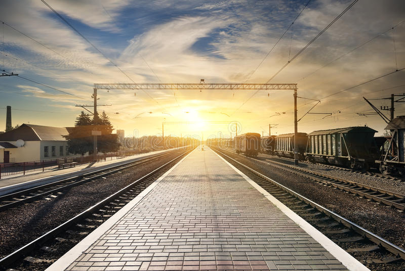 Download Boxcar on the station stock image. Image of outdoor, dramatic - 42172413