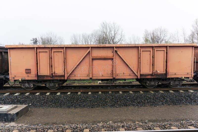 Boxcar. Wagon standing on the railway embankment royalty free stock photos
