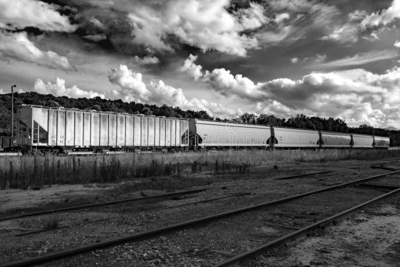 Boxcars i svartvitt arkivfoton