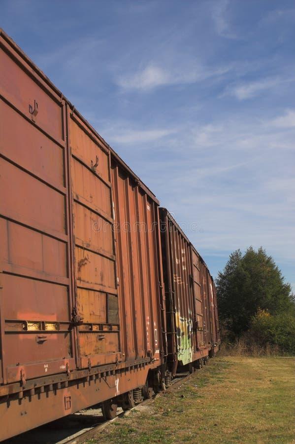 boxcarsjärnväg royaltyfri fotografi