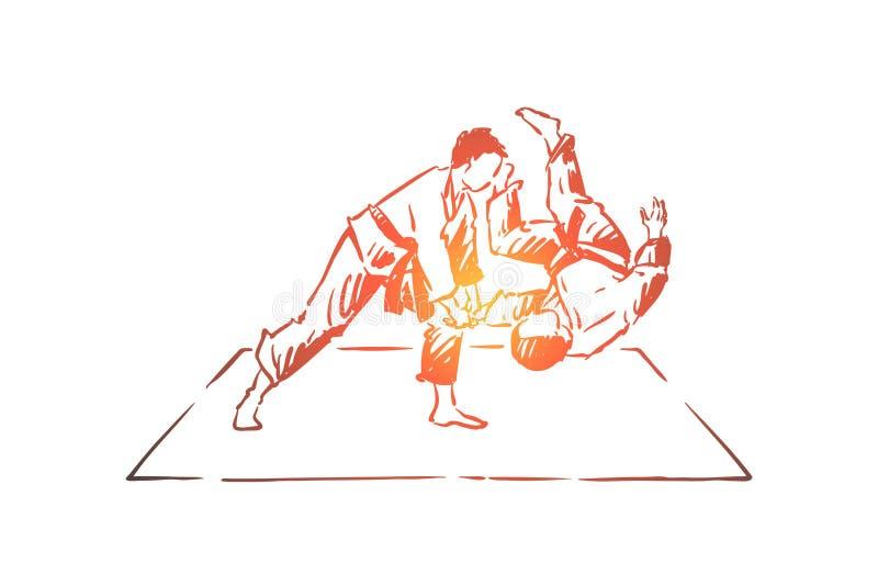 Boxe d'entraînement de karaté, jeune combattant dans l'adversaire de lancement de kimono sur le tapis, pratique en matière orient illustration stock