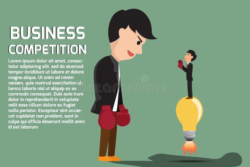 Boxe d'homme d'affaires contre un homme géant d'affaires illustration libre de droits