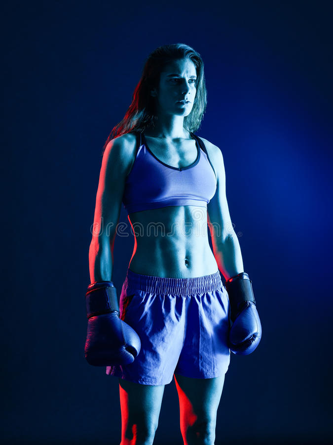 Boxe de boxeur de femme d'isolement photographie stock libre de droits
