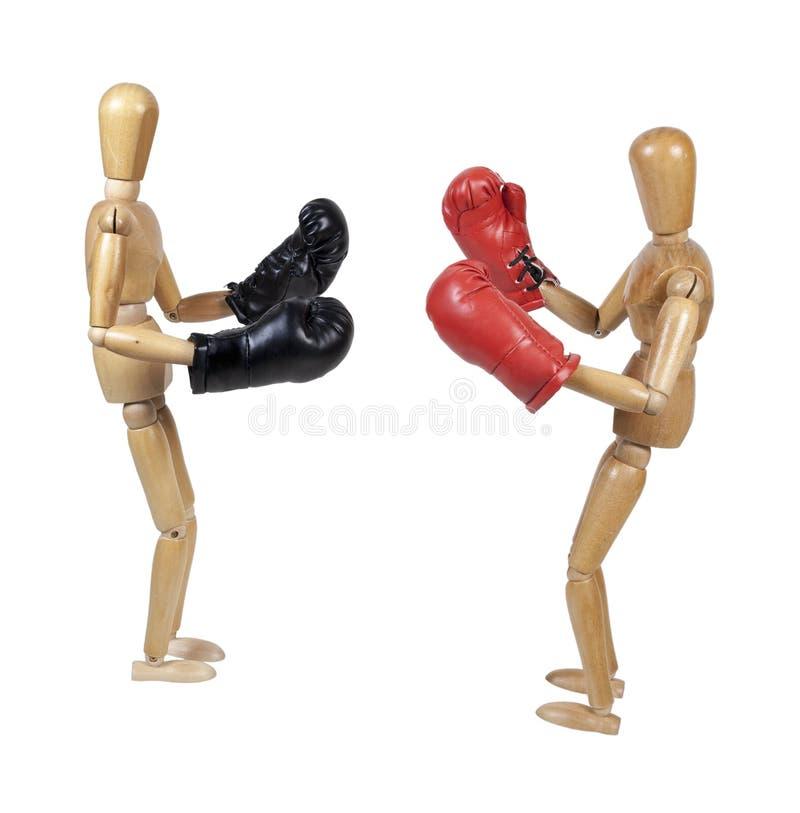 Boxe de treino de dois povos com luvas de encaixotamento foto de stock royalty free