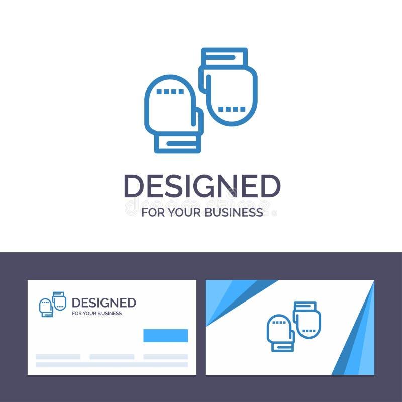 Boxe de visite de calibre créatif de carte de visite professionnelle et de logo, gant, gants, illustration protectrice de vecteur illustration de vecteur