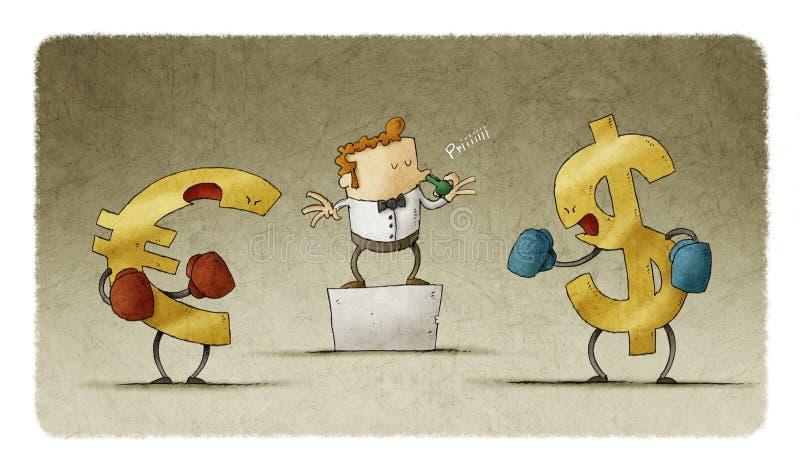 Boxe du dollar et d'euro illustration de vecteur