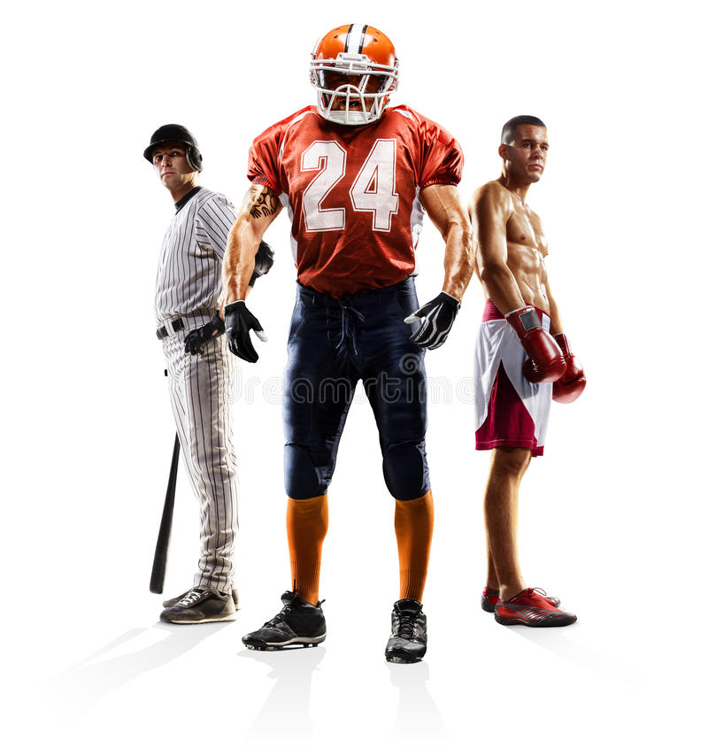 Boxe multi de football américain de base-ball de collage de sport images stock