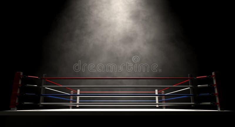 Boxe Ring Spotlit Dark image stock