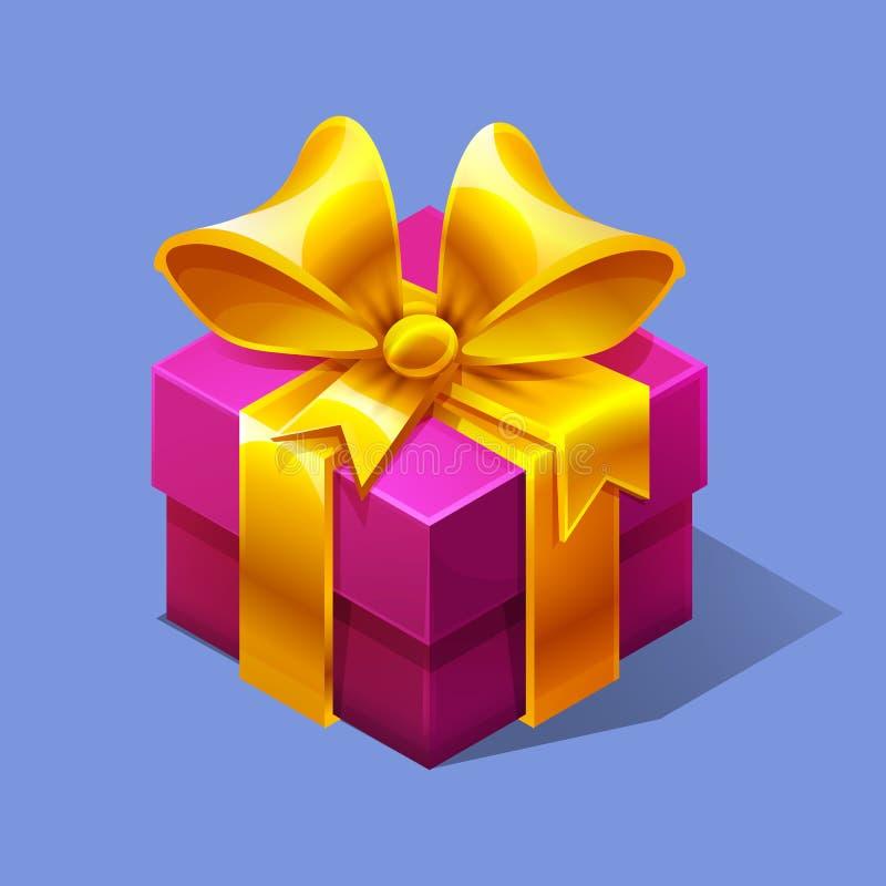 Boxe rose isométrique coloré de cadeau de bande dessinée drôle illustration stock