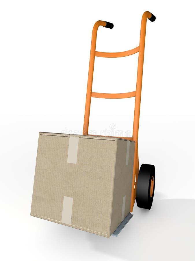 Boxe und Gabelhubwagen-Kurier Delivery vektor abbildung