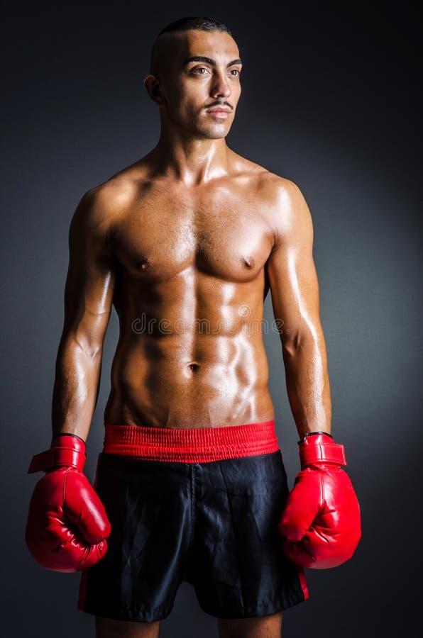 Boxeador con los guantes rojos imágenes de archivo libres de regalías