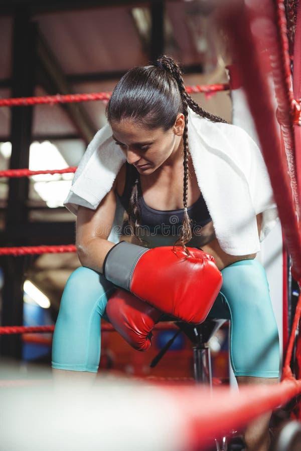 Boxeador de sexo femenino cansado que se sienta en el anillo fotografía de archivo