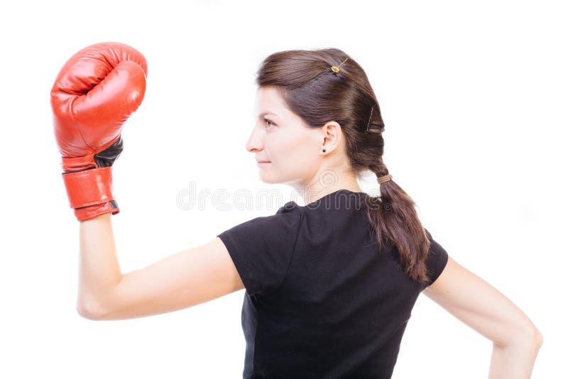 Boxeador de sexo femenino con los guantes imagenes de archivo