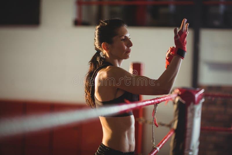 Boxeador de sexo femenino que lleva la correa roja en la muñeca imagen de archivo
