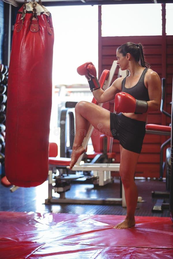 Boxeador de sexo femenino que perfora un bolso del boxeo fotos de archivo
