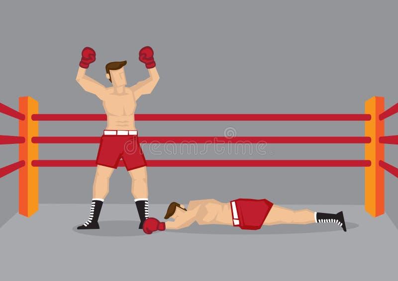 Boxeador del ganador en el encajonamiento de Ring Vector Illustration stock de ilustración