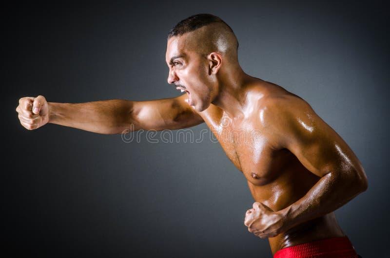 Boxeador muscular en obscuridad fotos de archivo libres de regalías