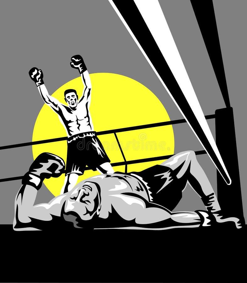 Boxeador que celebra una maravilla stock de ilustración