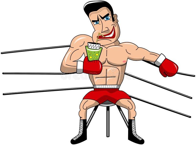 Boxeador que encajona a Ring Mad Muscular Drinking Isolated ilustración del vector