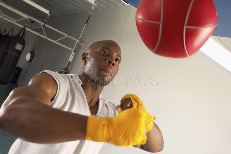 Boxeador que golpea el bolso de la velocidad en gimnasio fotografía de archivo