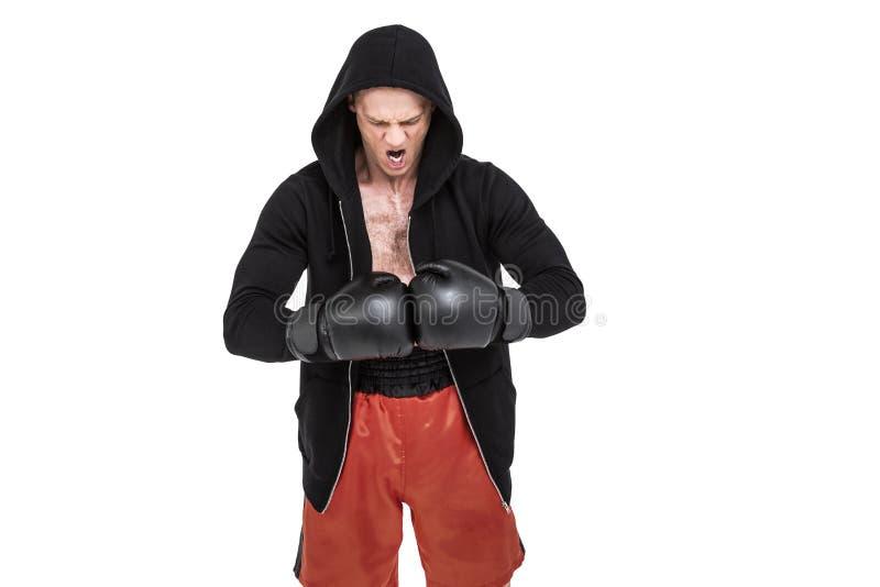 Boxeador que se prepara para el torneo imágenes de archivo libres de regalías