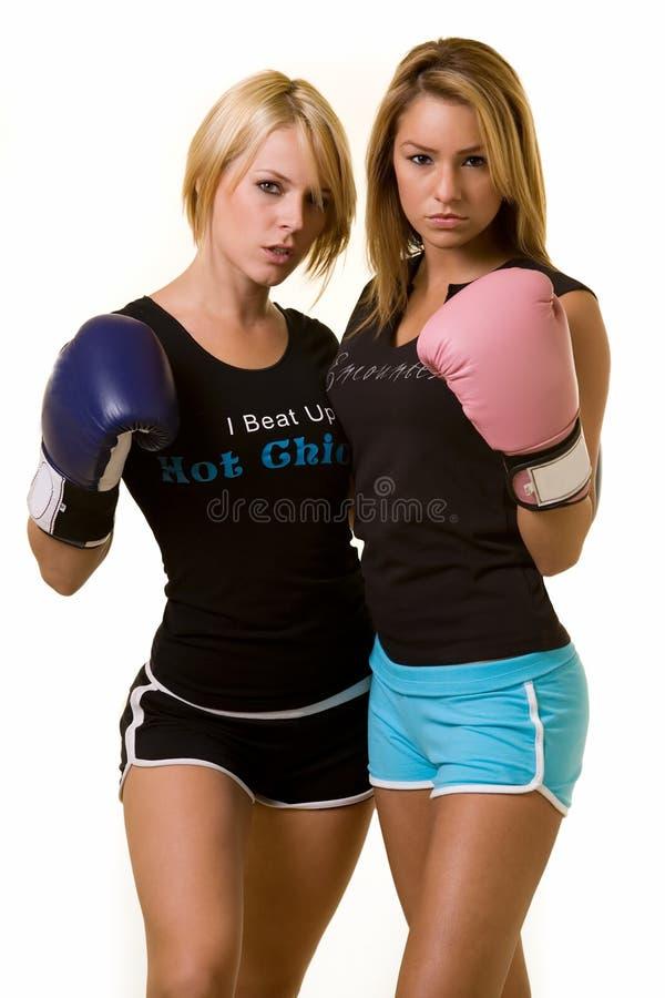 Boxeadores de las mujeres imagen de archivo