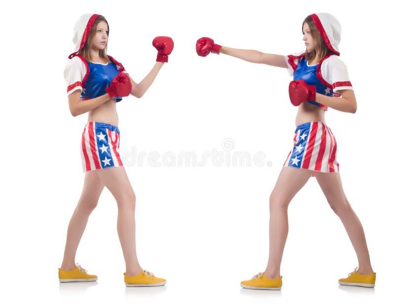 Boxeadores de sexo femenino en el uniforme con símbolos de los E.E.U.U. aislado imágenes de archivo libres de regalías