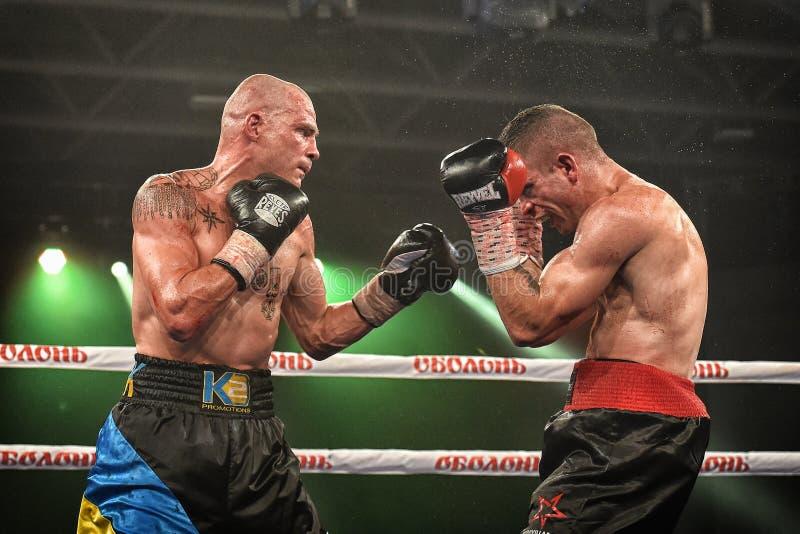 Boxeadores Ismael Garcia y Denys Berinchyk en el anillo fotos de archivo