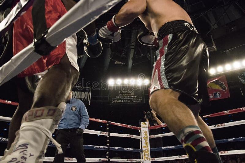 Boxeadores profesionales en Matchup imagenes de archivo