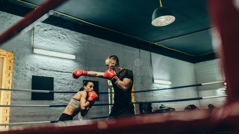 Boxeadores que entrenan en el ring de boxeo imágenes de archivo libres de regalías