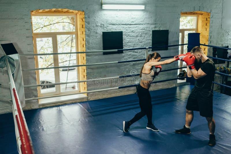Boxeadores que entrenan en el ring de boxeo imagen de archivo libre de regalías