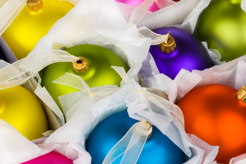 Boxed Christmas decorations baubles. Rady to put away or get out for another year royalty free stock photography