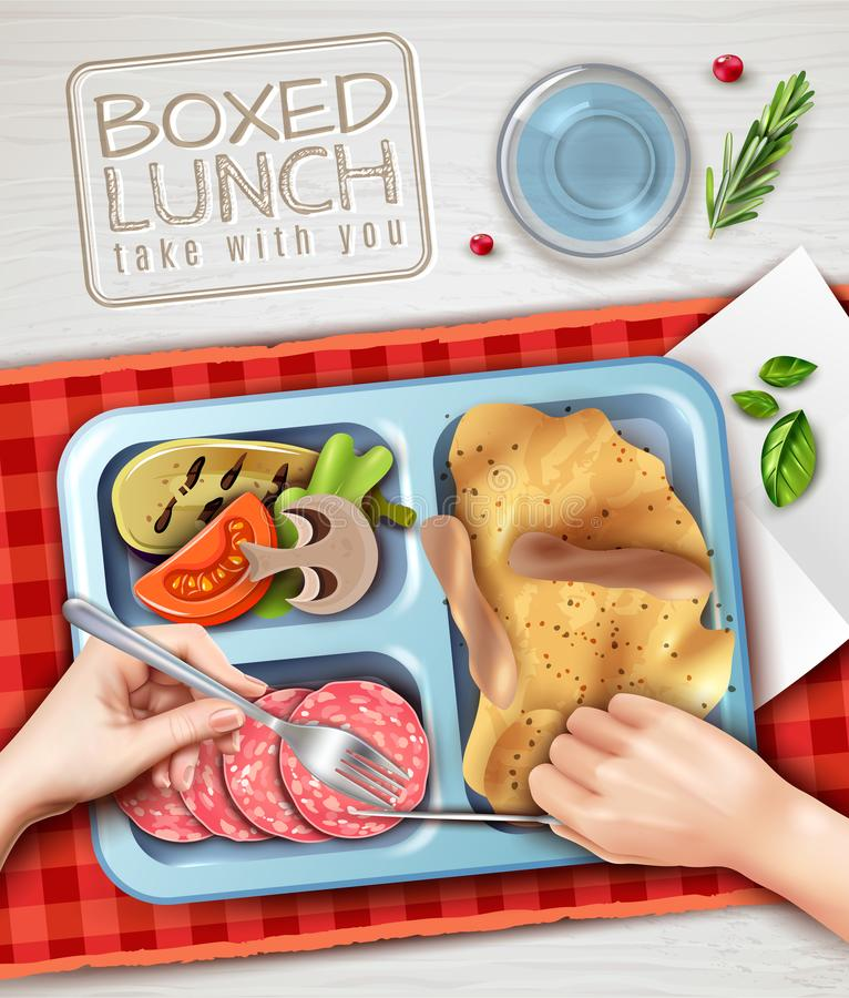Free Boxed Lunch Hands Illustration Stock Photo - 114695850