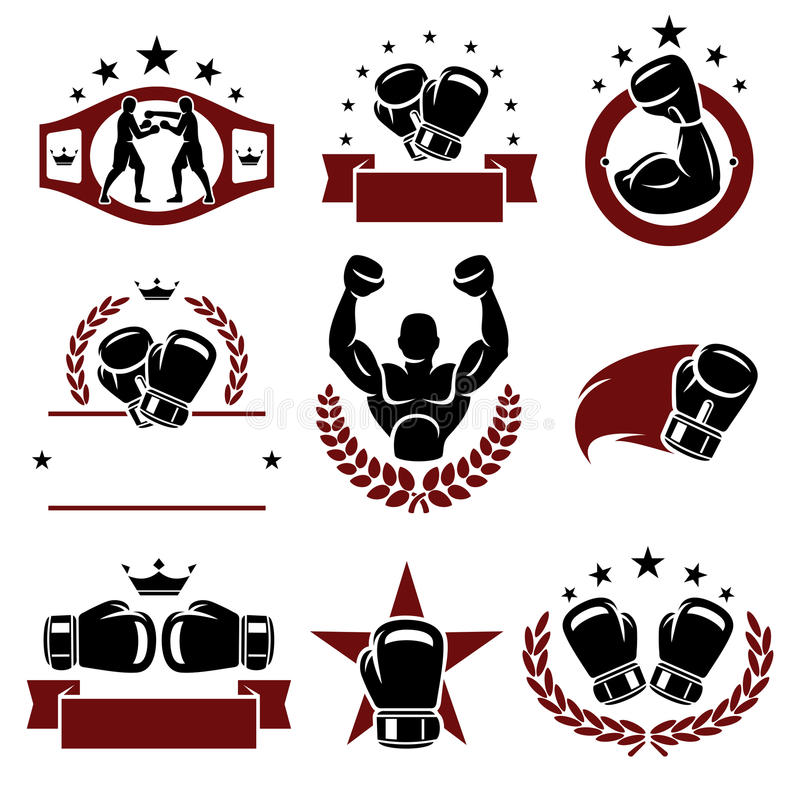 Boxende Aufkleber und Ikonen eingestellt Vektor lizenzfreies stockfoto