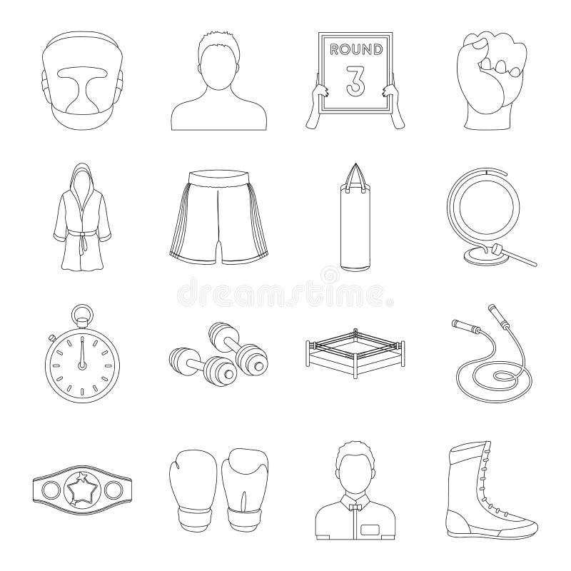 Boxende gesetzte Ikonen in der Entwurfsart Große Sammlung der Verpackenvektorsymbol-Vorratillustration lizenzfreie abbildung