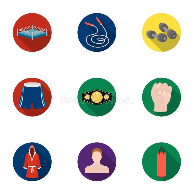 Boxende gesetzte Ikonen in der flachen Art Große Sammlung der Verpackenvektorsymbol-Vorratillustration stock abbildung