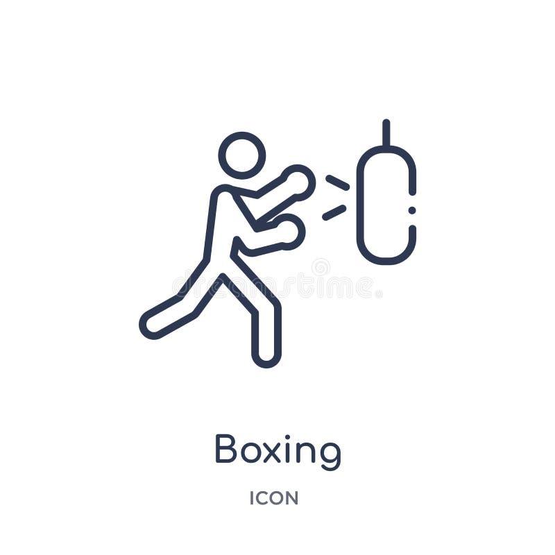 Boxende Ikone von der Entwurfssammlung der Olympischen Spiele Dünne Linie boxende Ikone lokalisiert auf weißem Hintergrund lizenzfreie abbildung