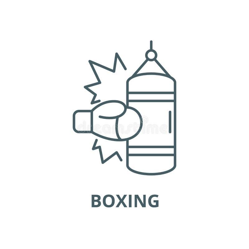 Boxende Vektorlinie Ikone, lineares Konzept, Entwurfszeichen, Symbol vektor abbildung