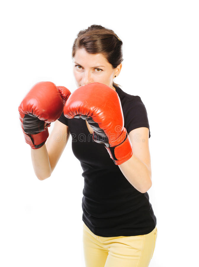 Boxeo de la mujer foto de archivo