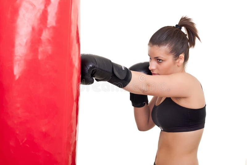 Boxeo de la mujer joven foto de archivo