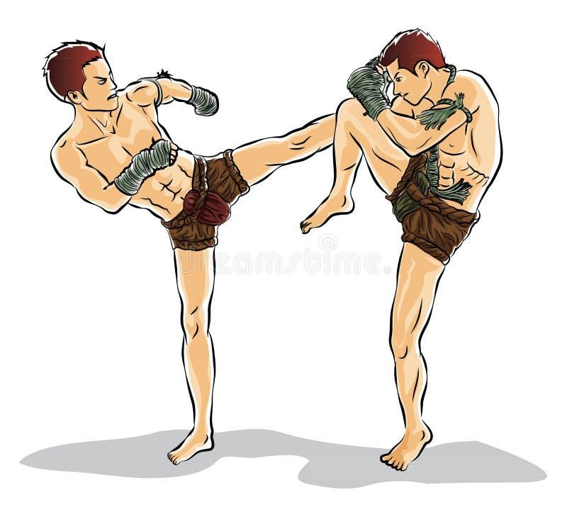 Boxeo de retroceso, lucha tradicional, tailandesa tailandesa stock de ilustración