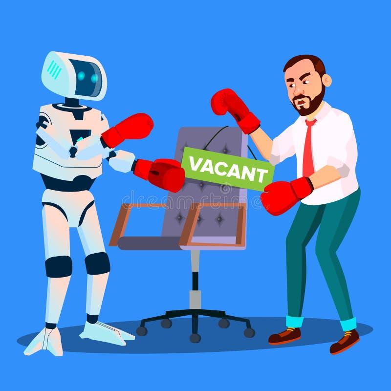 Boxeo del robot con el hombre de negocios For Vacant Place en el trabajo, vector del concepto de la hora Ilustración aislada libre illustration