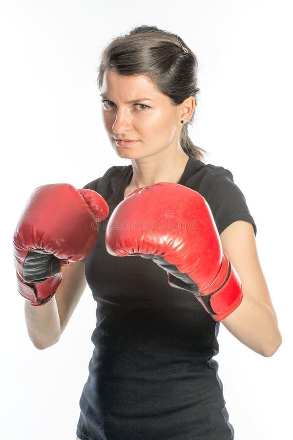 Boxeo duro de la mujer imagen de archivo