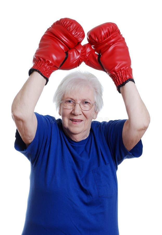 Boxeo mayor del ganador de la mujer fotos de archivo libres de regalías