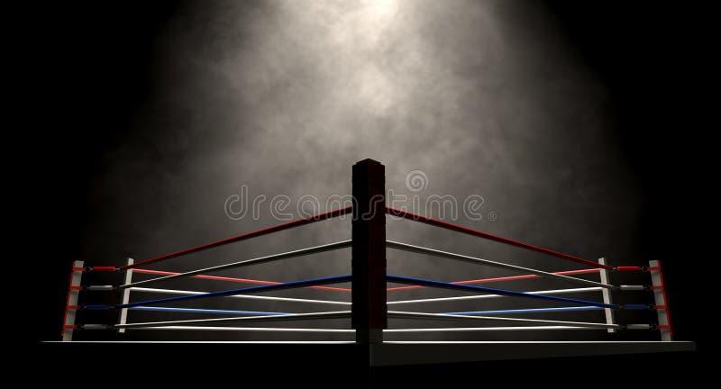 Boxeo Ring Spotlit Dark fotos de archivo libres de regalías
