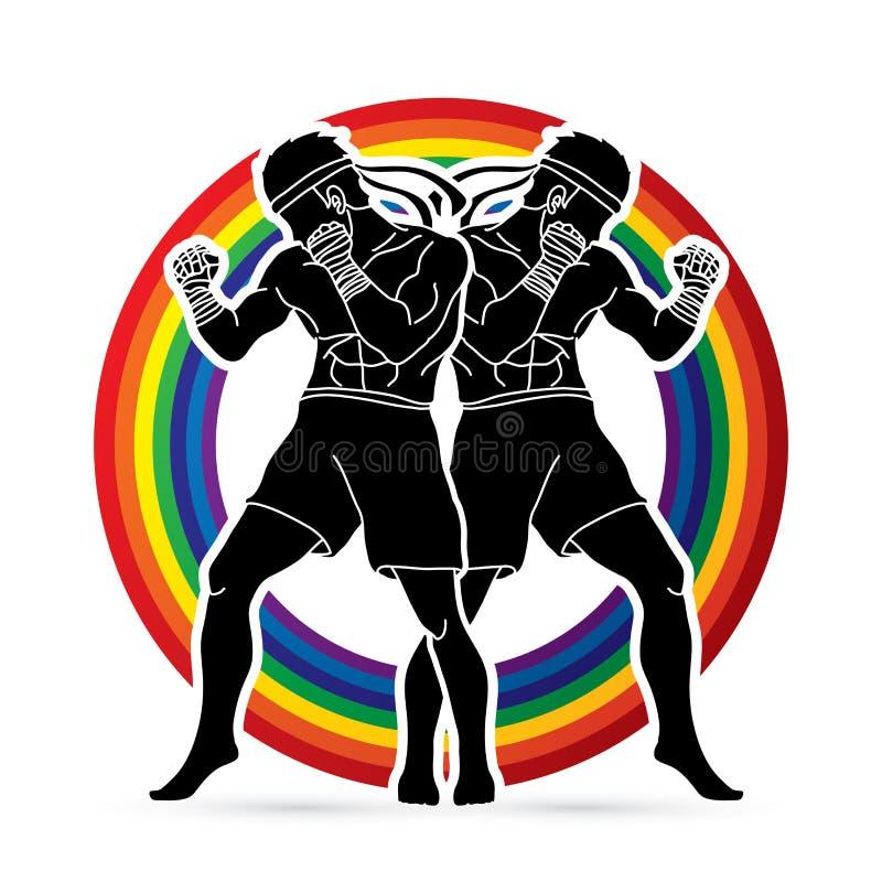 Boxeo tailandés de Muay, tailandés que se coloca listo para luchar vector del gráfico de la acción libre illustration