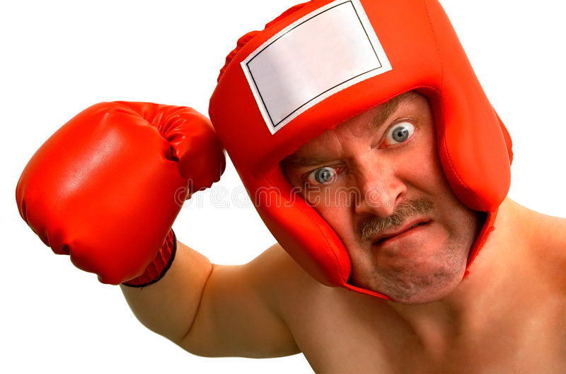 Boxer. A boxer wants to punch someone or something about something. A caption could be inserted on the boxer's headgear front label