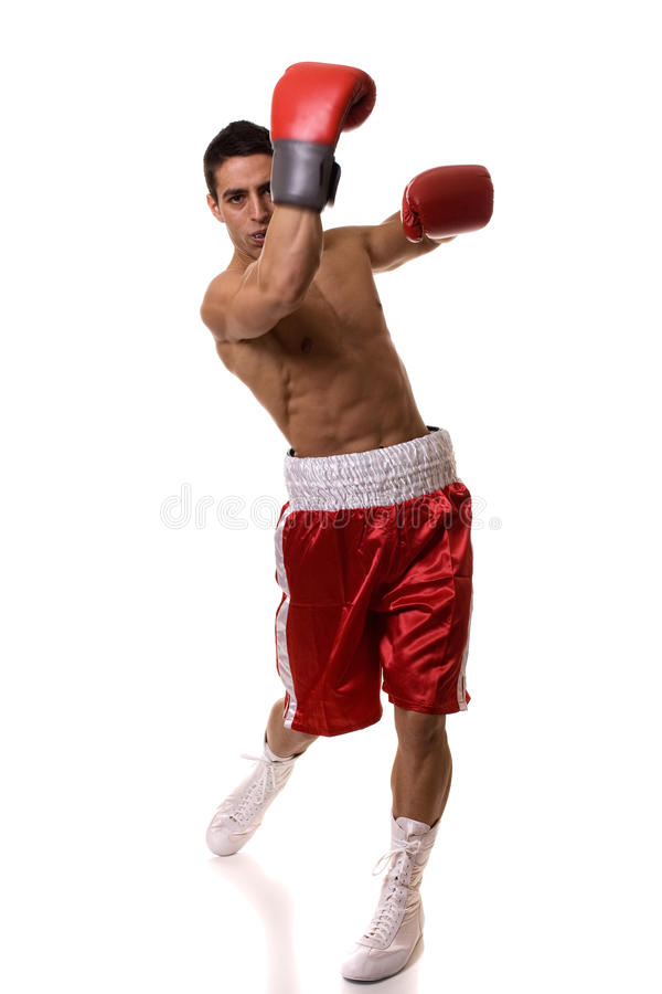 Boxer. In red trunks. Studio shot over white stock photo
